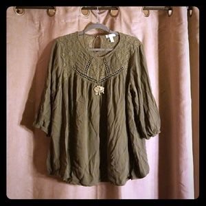 Olive green peasant blouse